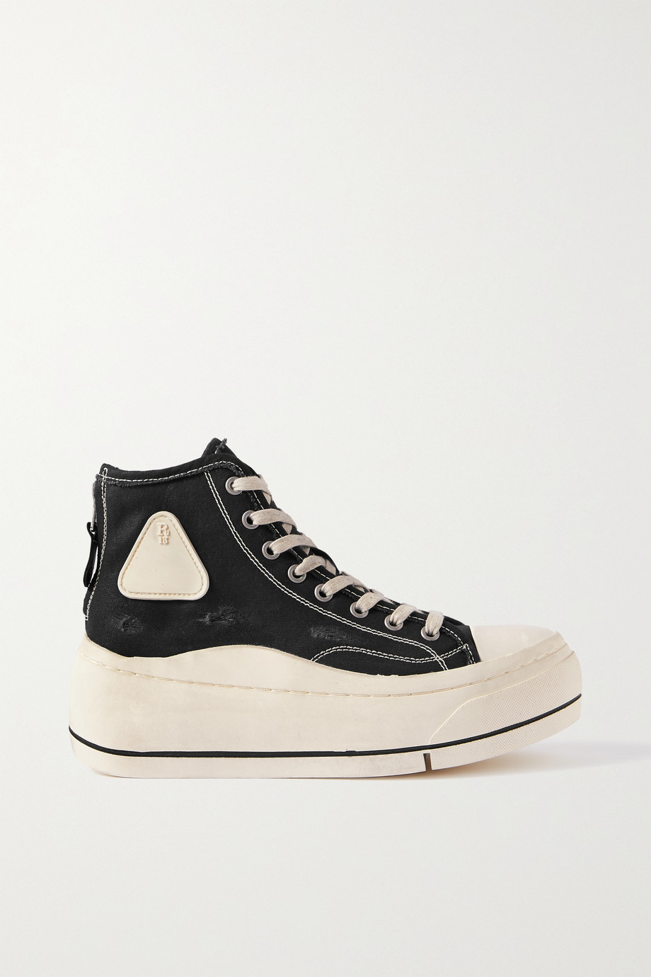R13 Distressed canvas high-top platform sneakers