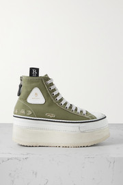 R13 Grosgrain-trimmed distressed canvas platform high-top sneakers