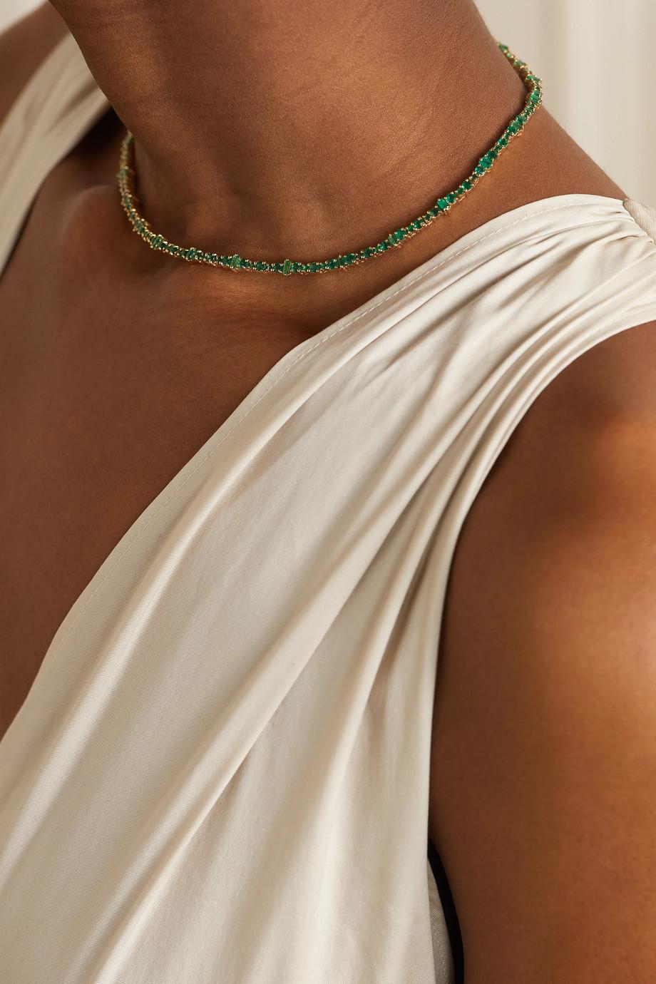 Ileana Makri Collier en or 14 carats et émeraudes