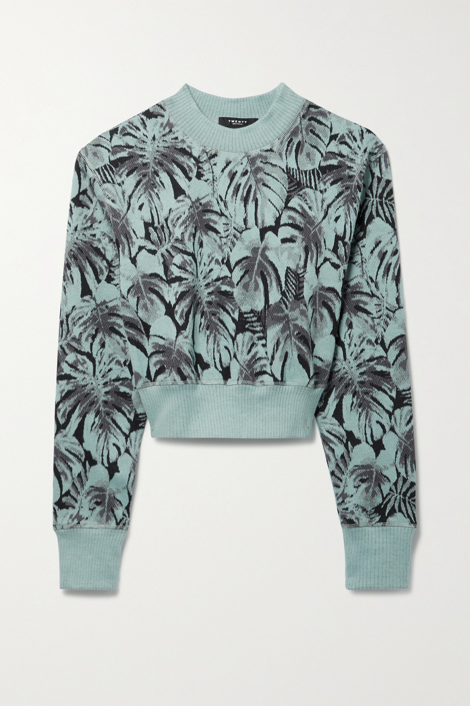 TWENTY Montréal Monstera Hyper Reality cropped jacquard-knit cotton-blend sweater