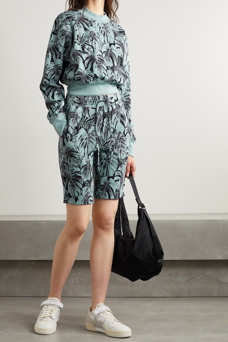 TWENTY Montréal Monstera Hyper Reality jacquard-knit cotton-blend shorts