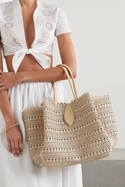 Alaïa Angèle 32 leather-trimmed laser-cut raffia tote