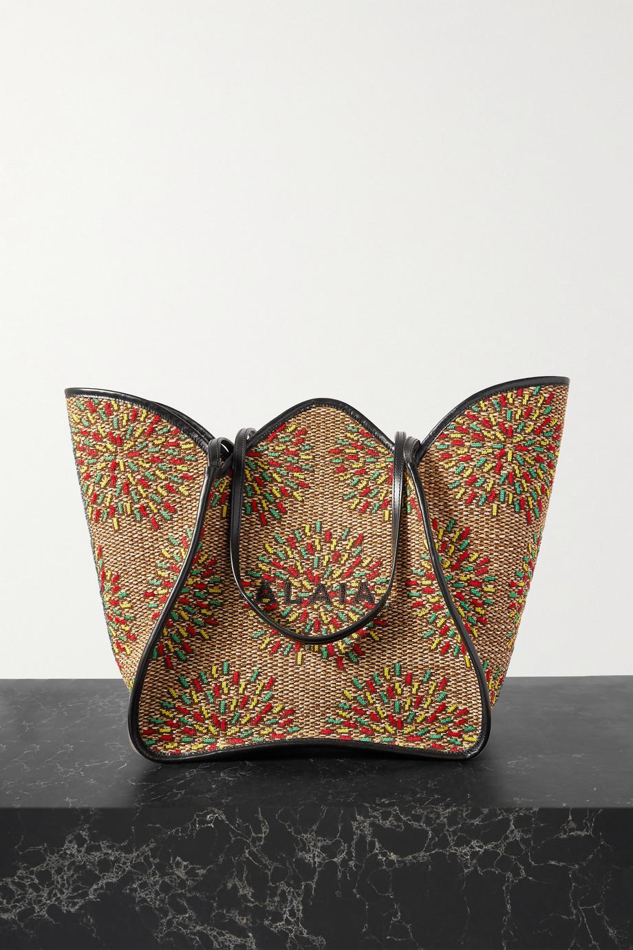 Alaïa Lili 24 leather-trimmed jacquard tote