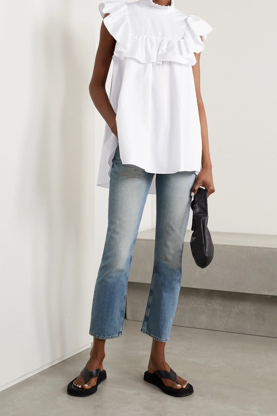 Adam Lippes Ruffled cotton-poplin top