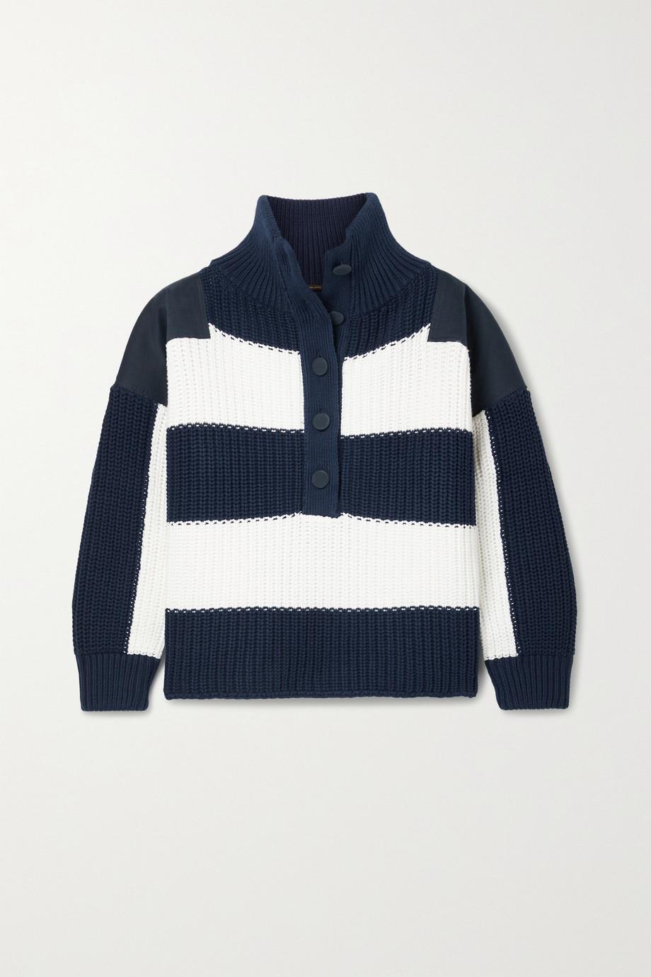 Adam Lippes Oversized-Pullover aus gerippter Baumwolle und Twill mit Streifen