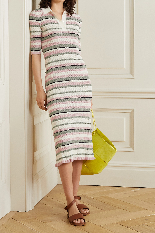 Adam Lippes Striped crinkled cotton-blend midi dress