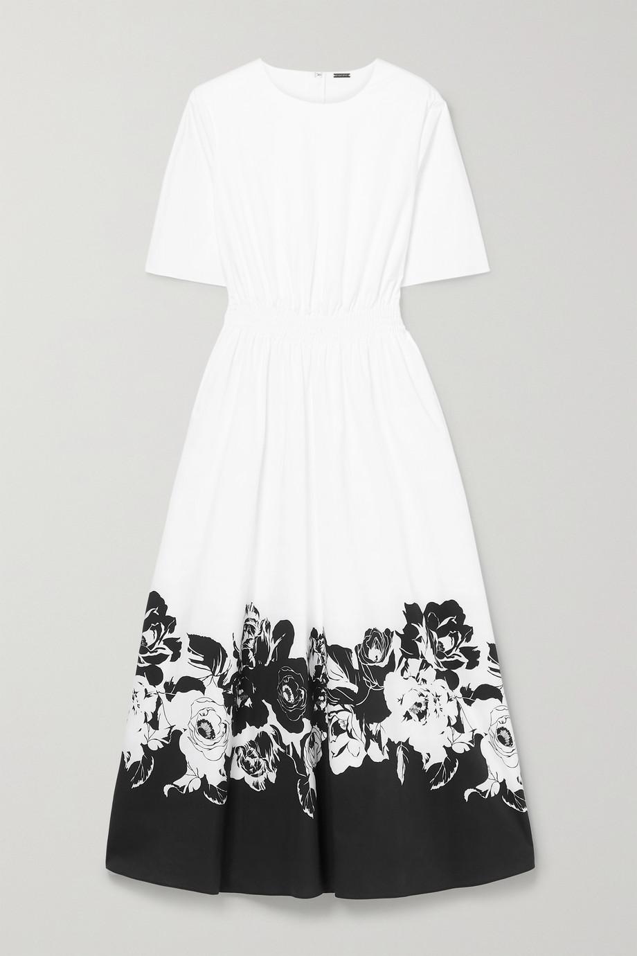 Adam Lippes Smocked floral-print stretch-cotton poplin maxi dress