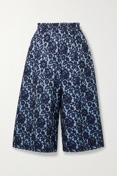 Adam Lippes BONDED CORDED LACE AND JERSEY CULOTTES