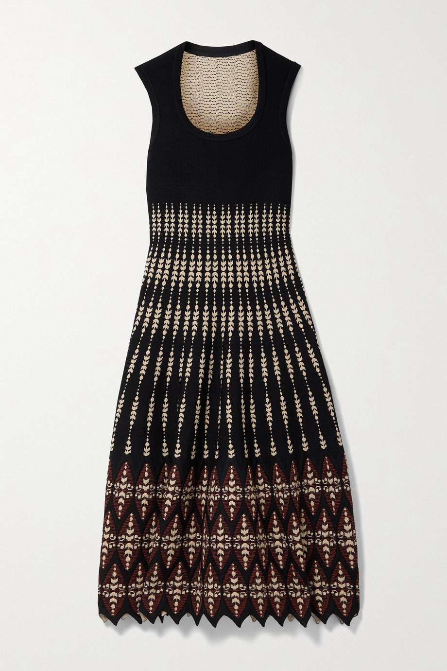 Alaïa Metallic jacquard-knit midi dress