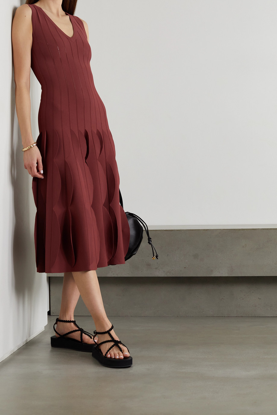 Alaïa Scalloped knitted midi dress