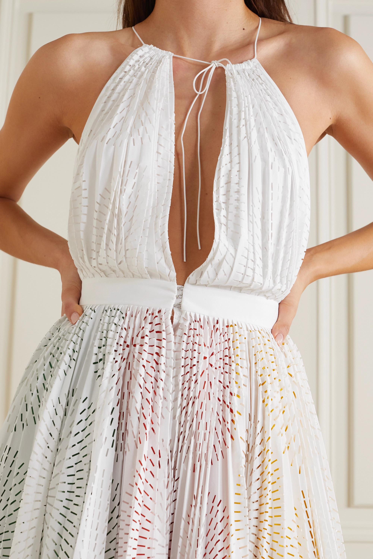 Alaïa Laser-cut cotton-poplin halterneck midi dress