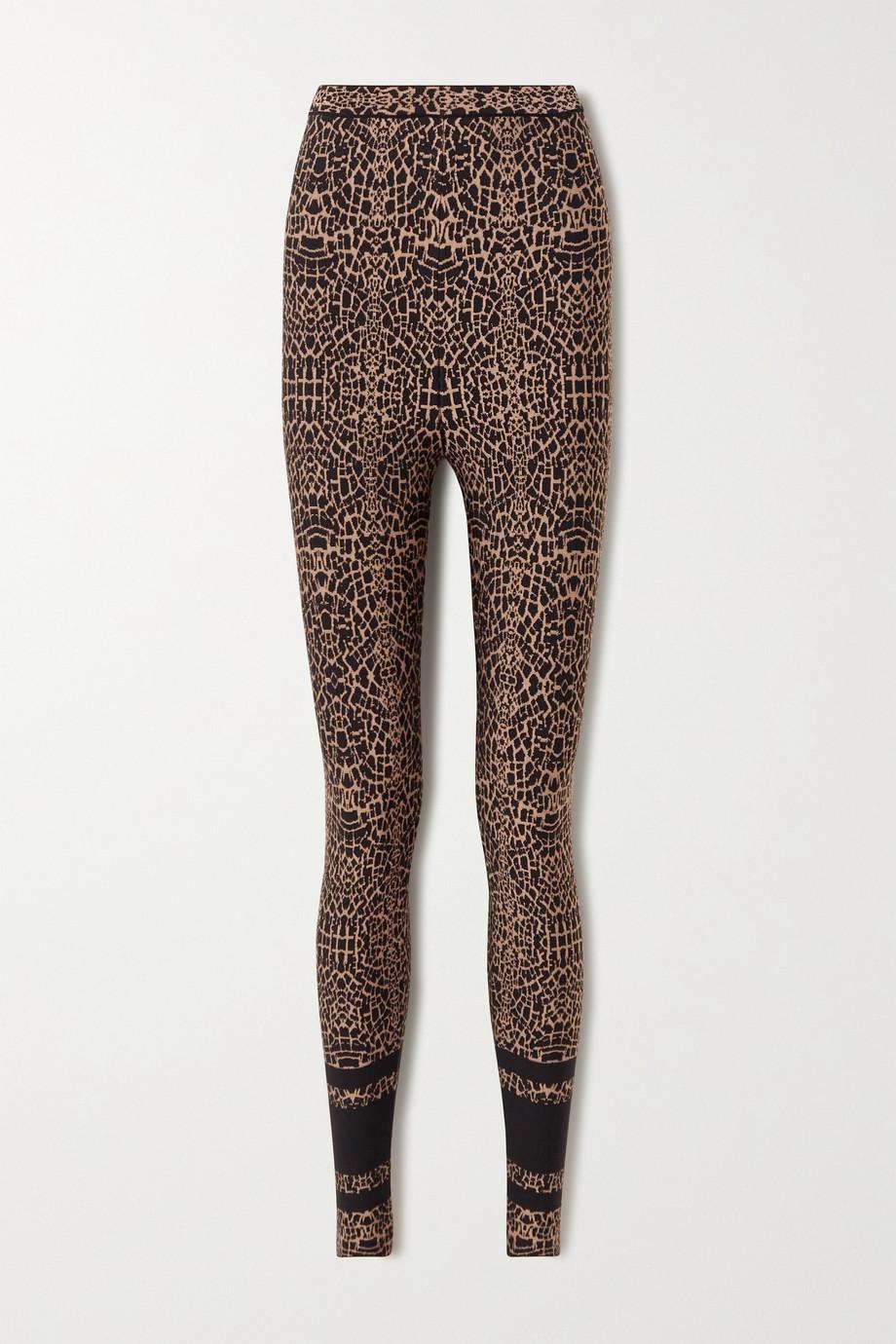 Alaïa Leopard jacquard-knit leggings