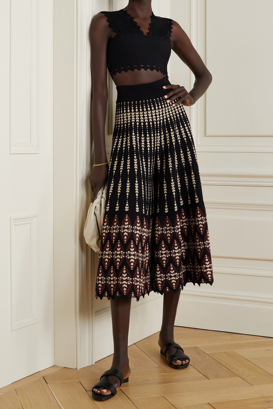 Alaïa Metallic jacquard-knit culottes