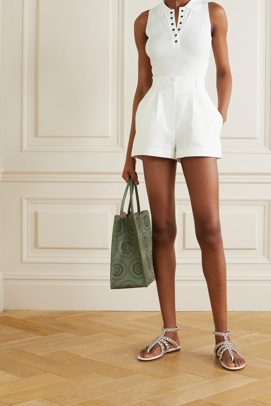Alaïa Shorts aus Baumwoll-Piqué mit Falten