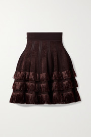 Alaïa Fringed raffia and laser-cut stretch-knit mini skirt
