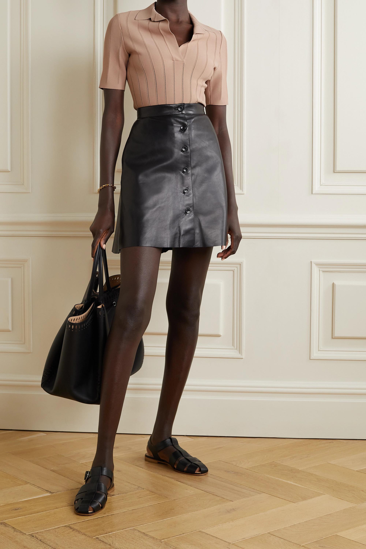 Alaïa Pointelle-trimmed stretch-knit bodysuit