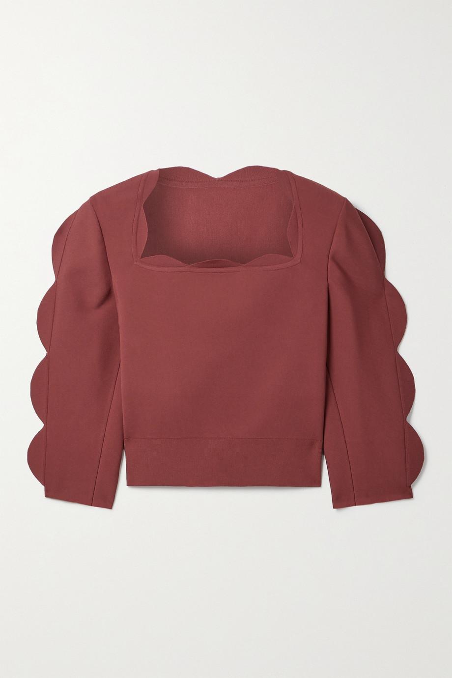 Alaïa Cropped scalloped stretch-knit top