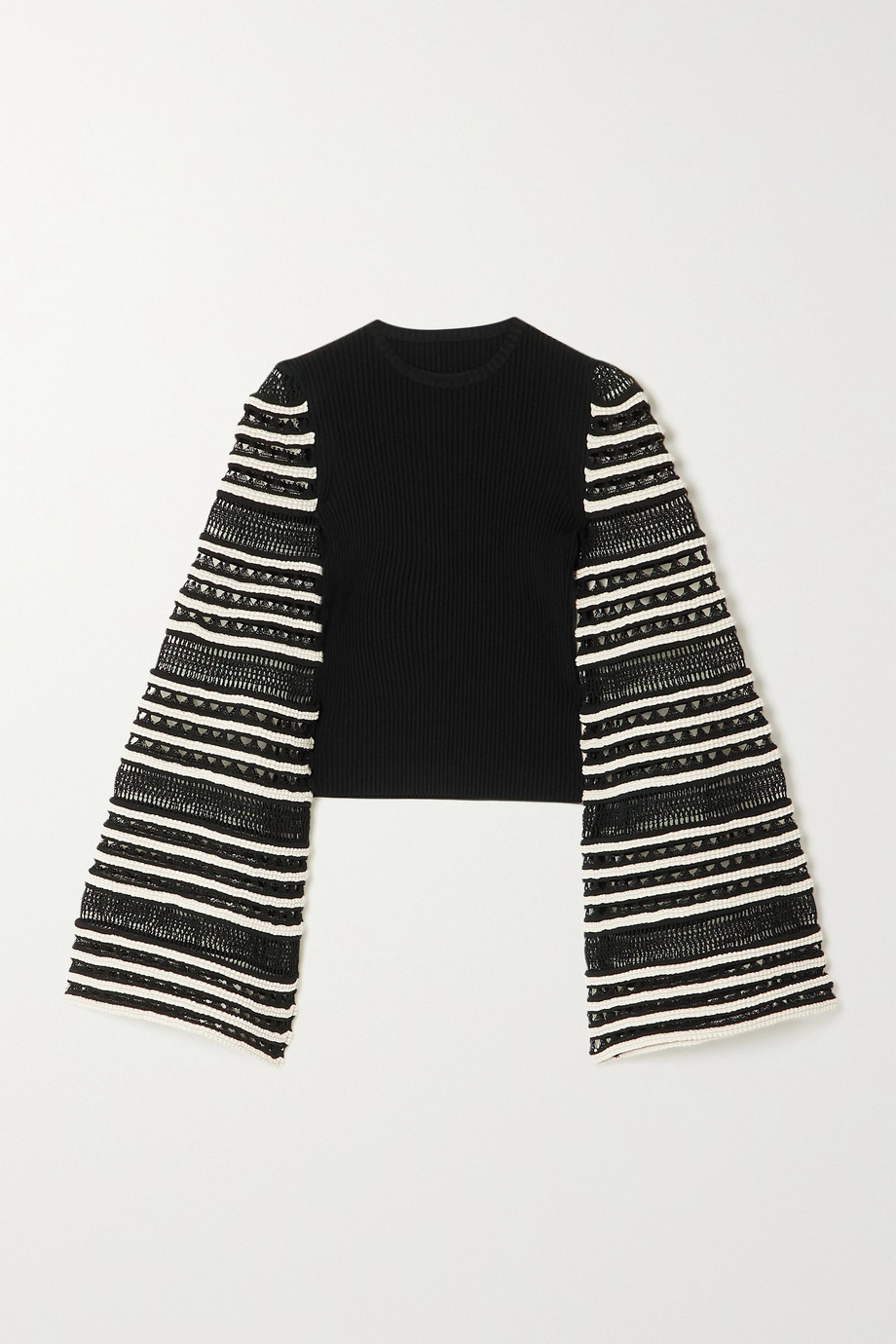 Alaïa Open-knit and ribbed cotton-blend top