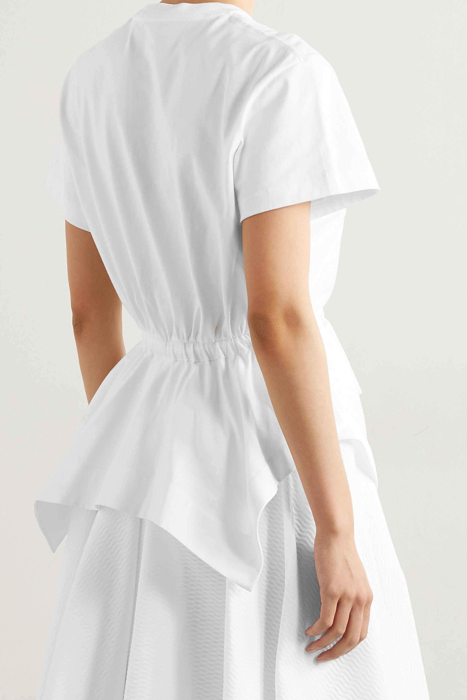Alaïa T-Shirt aus Baumwoll-Jersey mit Besatz aus Popeline zum Binden