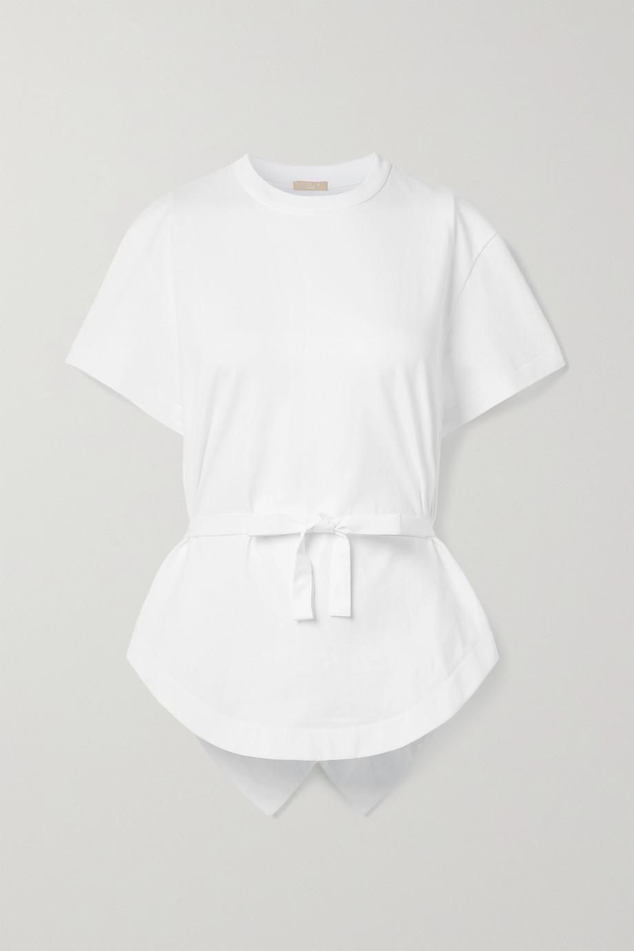 Alaïa T-shirt noué sur le devant en jersey de coton à finitions en popeline