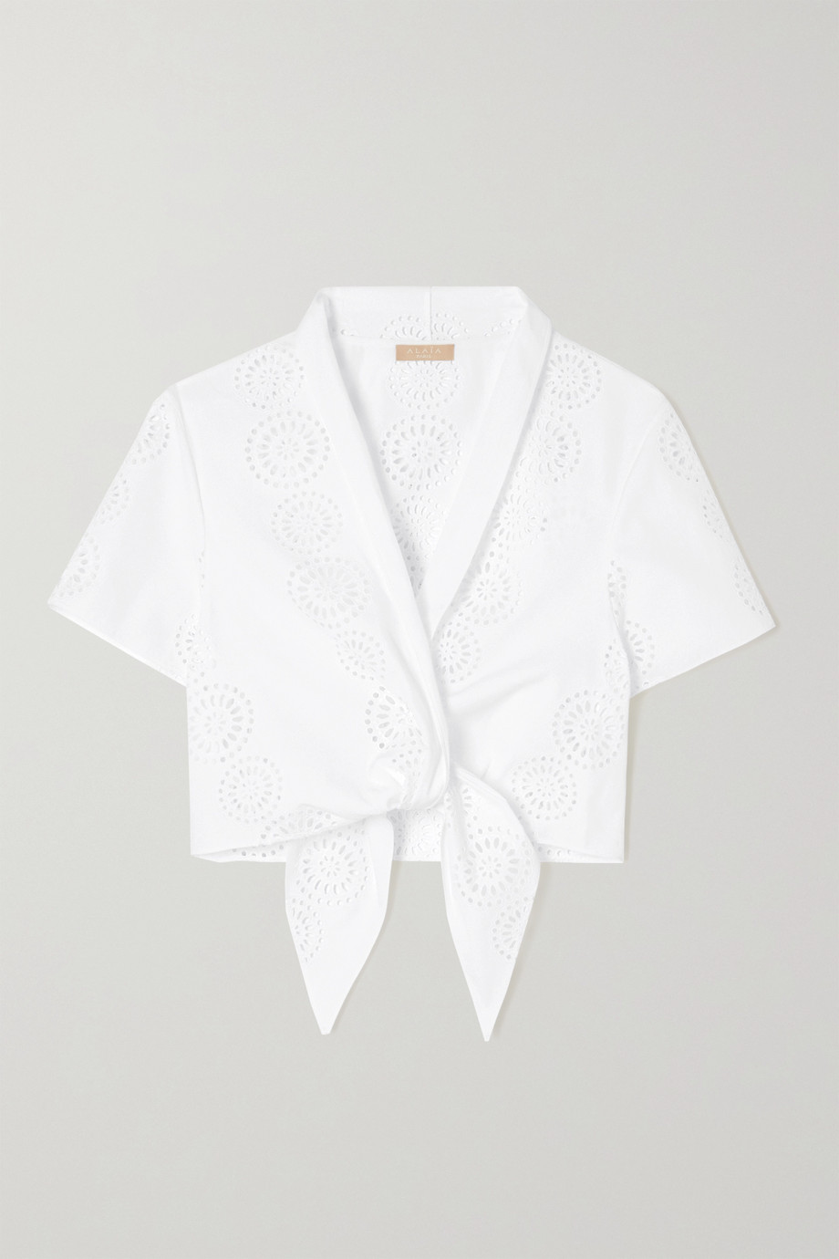 Alaïa Cropped tie-front broderie anglaise cotton top
