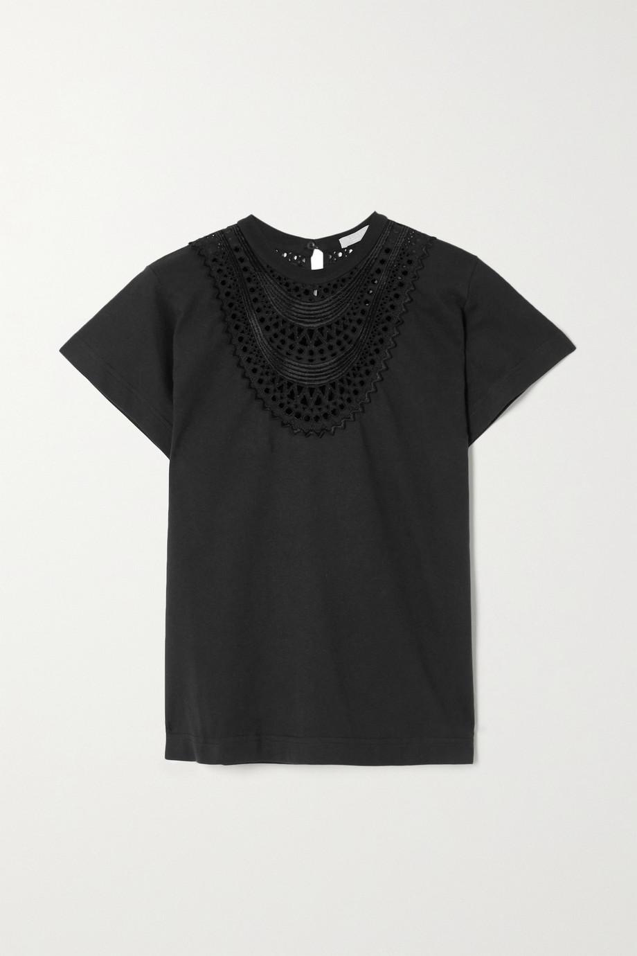 Alaïa Broderie anglaise-trimmed jersey T-shirt