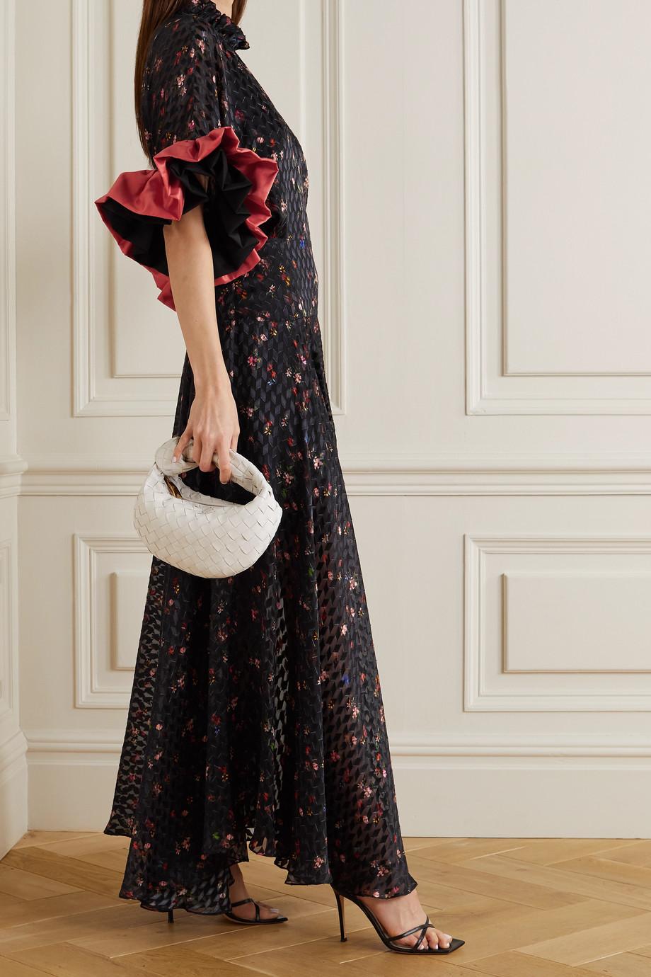 Preen by Thornton Bregazzi Tonica ruffled floral-print devoré-satin maxi-dress
