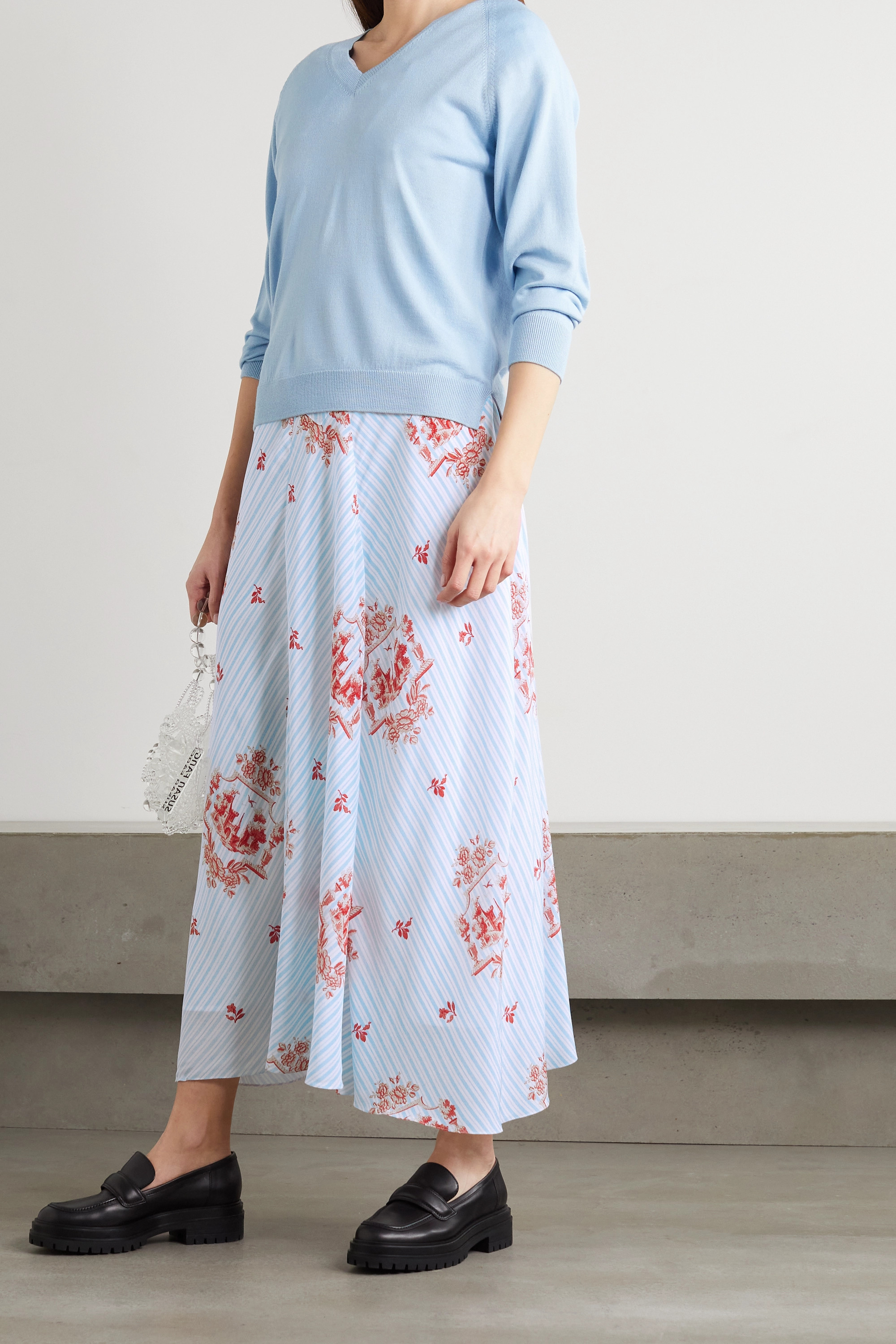 Simone Rocha Ruched printed silk maxi dress