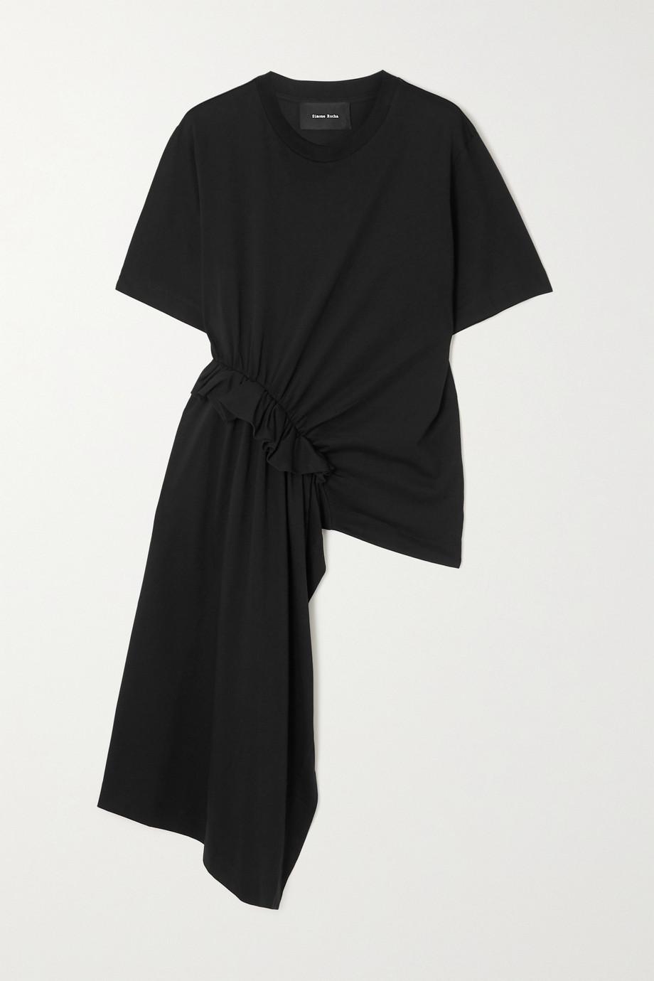 Simone Rocha Asymmetrisches T-Shirt aus Supima®-Baumwoll-Jersey mit Rüschen