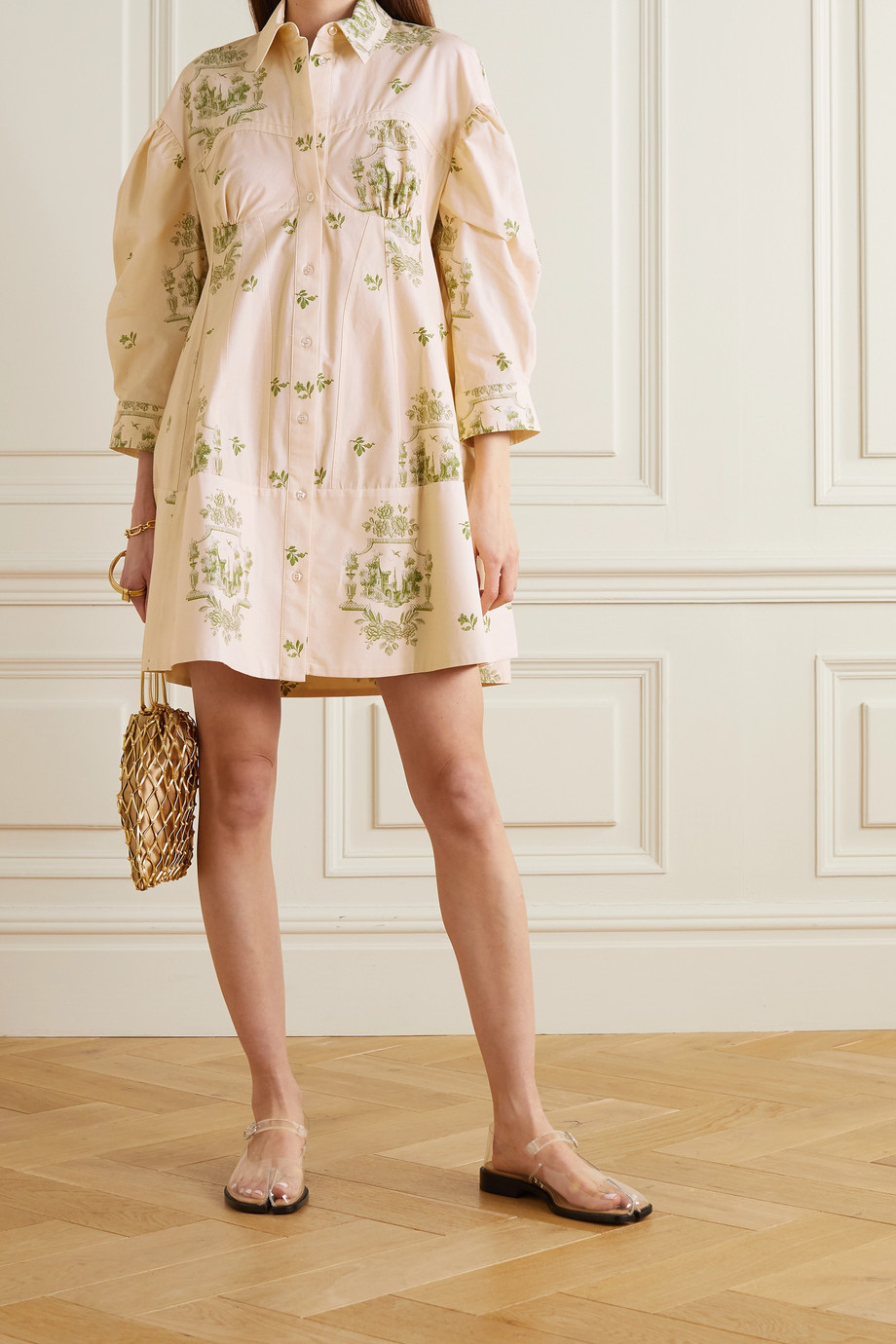 Simone Rocha Cotton-jacquard shirt dress