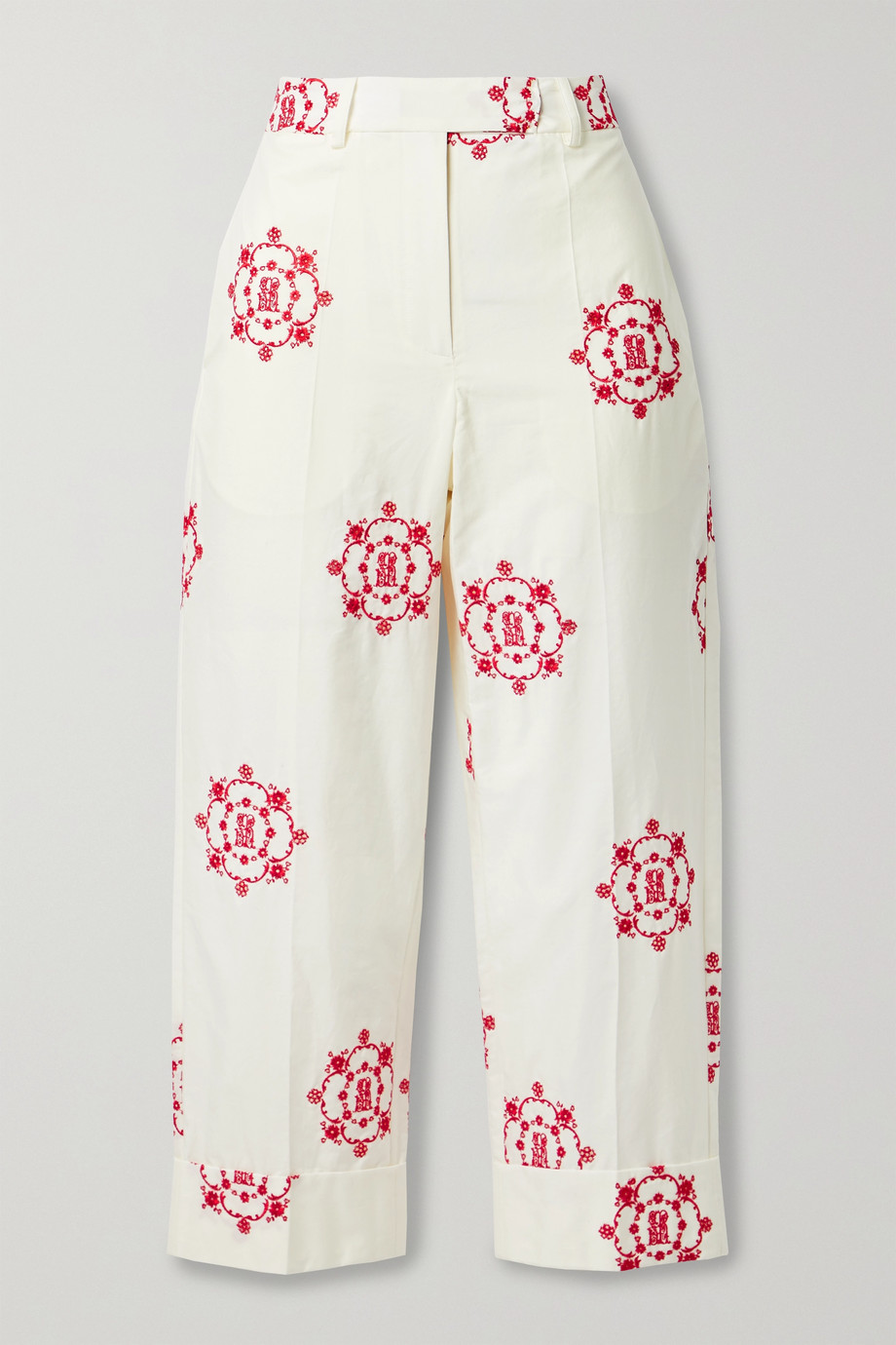 Simone Rocha Cropped embroidered cotton-poplin straight-leg pants