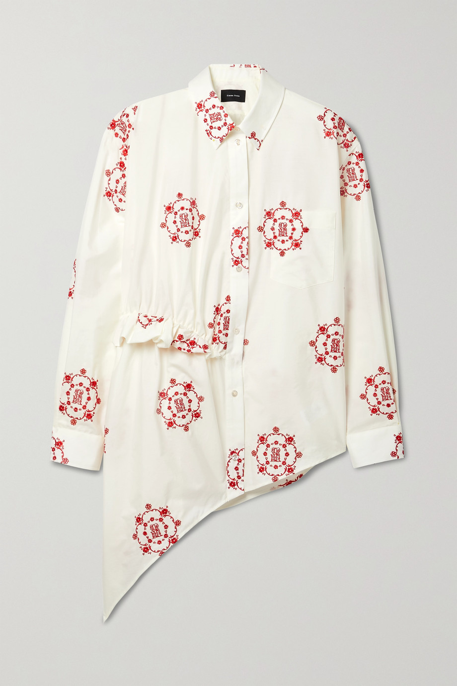 Simone Rocha Asymmetric ruffled embroidered cotton-poplin shirt