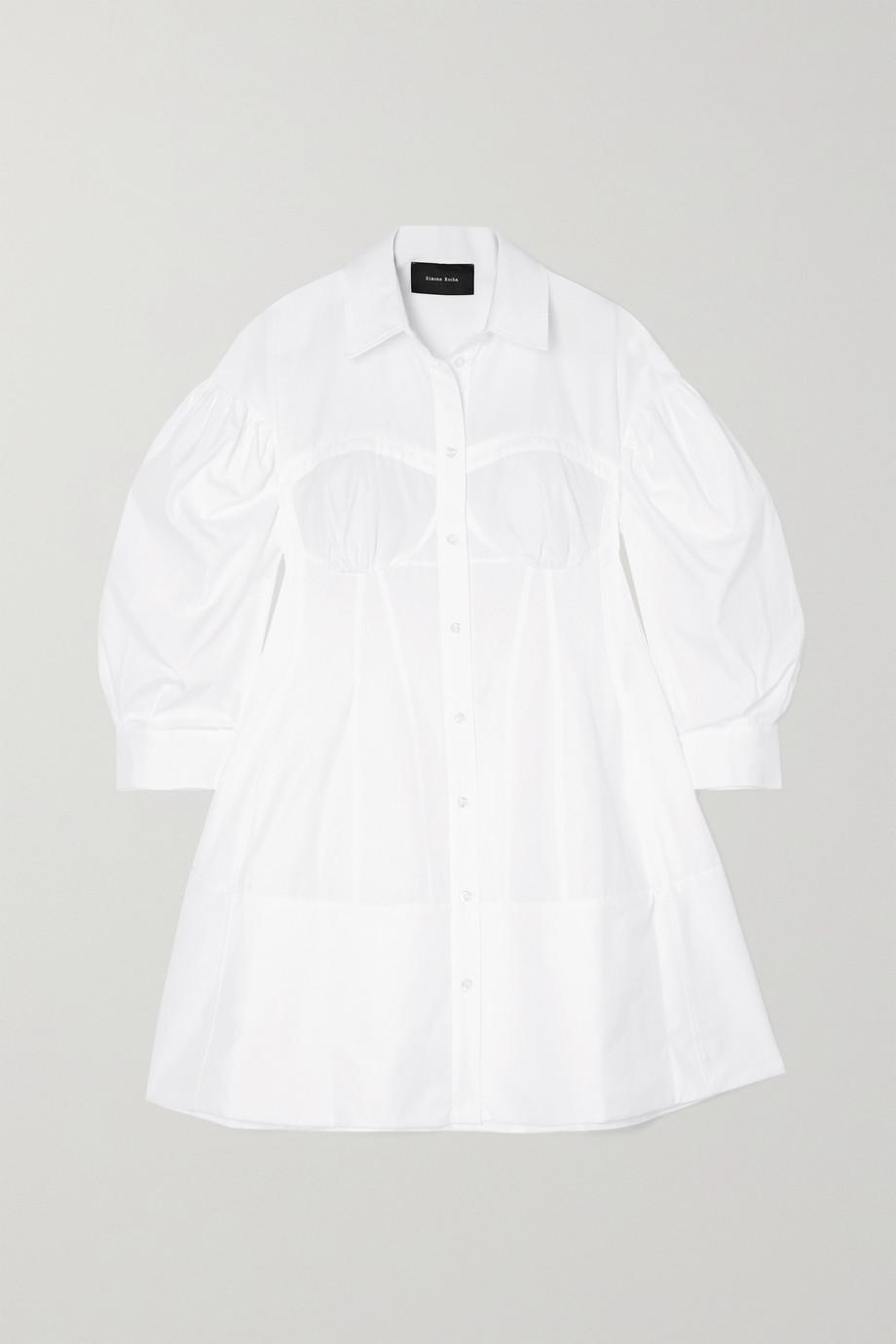 Simone Rocha Corset cotton-poplin mini shirt dress