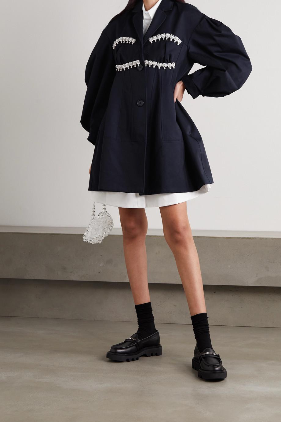 Simone Rocha Faux pearl-embellished cotton-twill jacket