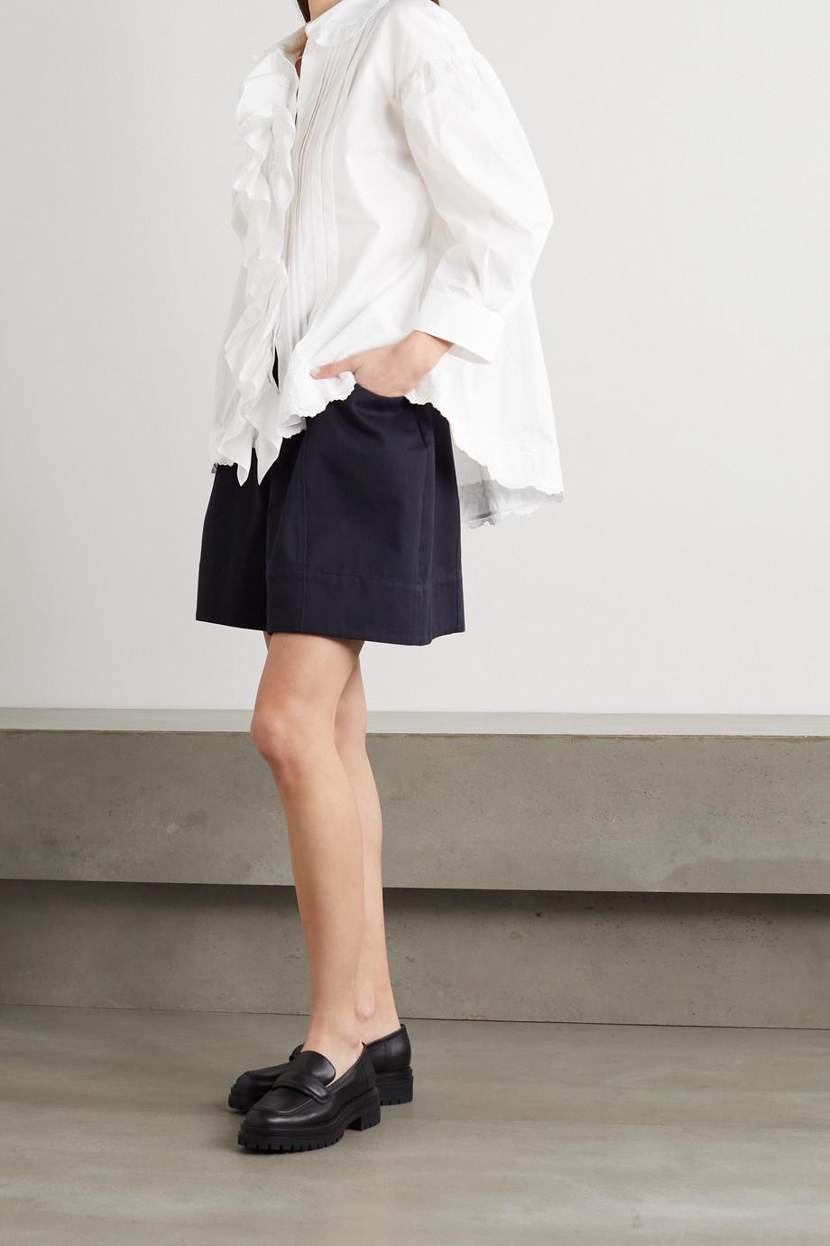 Simone Rocha Ruffled pleated cotton-poplin shirt