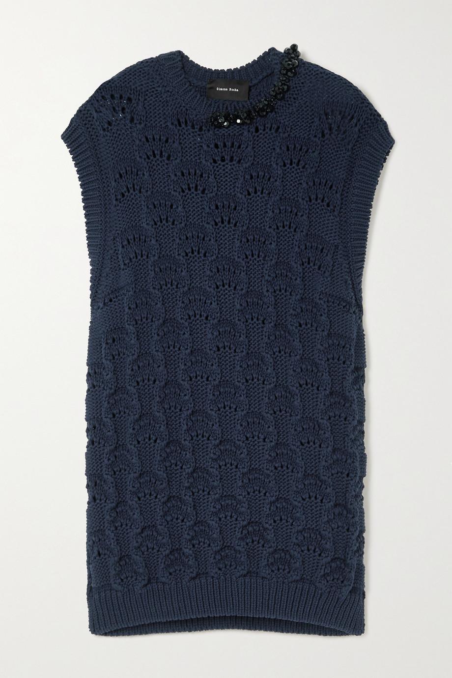 Simone Rocha Oversized bead-embellished pointelle-knit organic cotton tank