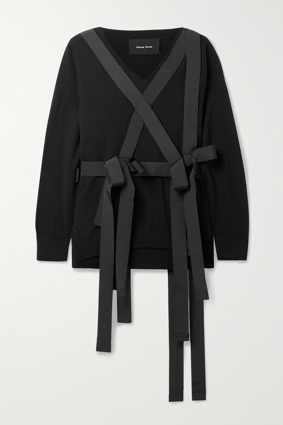 Simone Rocha Grosgrain-trimmed wool sweater