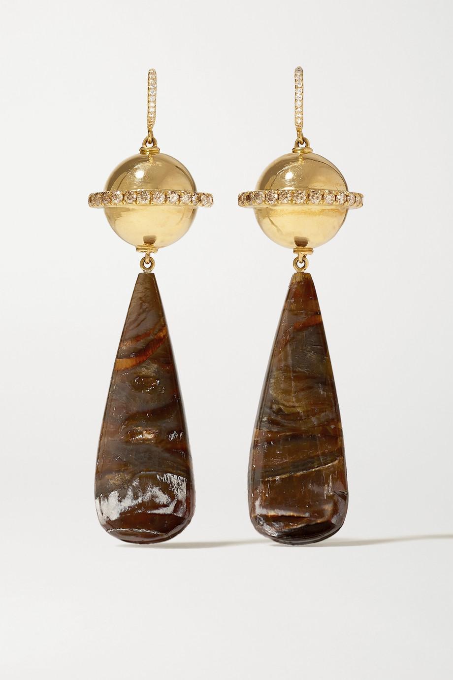 Guita M 18-karat gold, serpentine opal and diamond earrings
