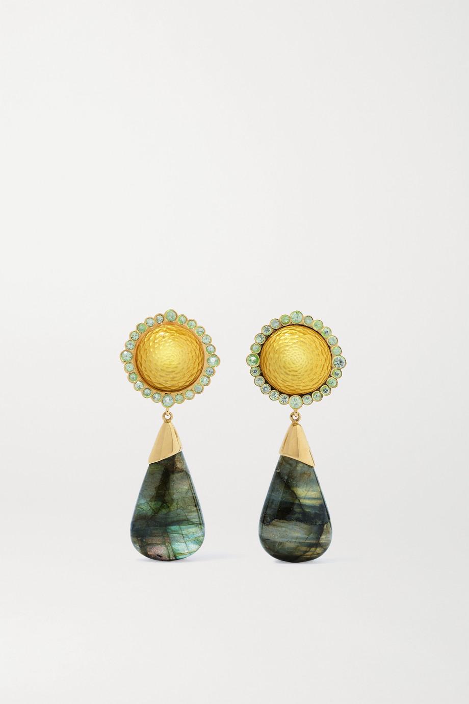 Guita M 18-karat gold labradorite, sapphire and enamel earrings