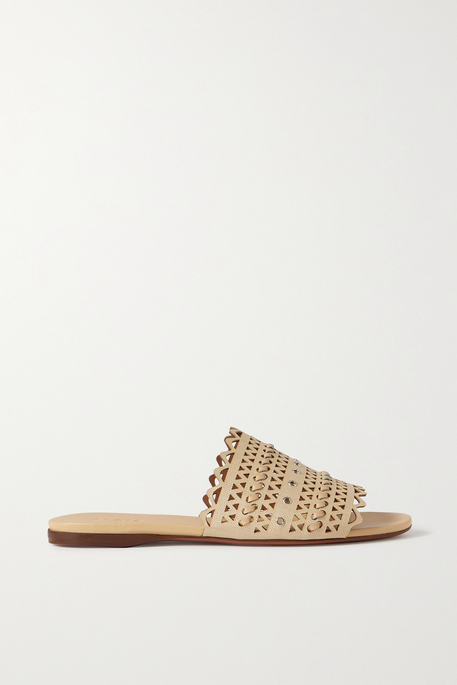 Alaïa Eyelet-embellished laser-cut raffia and leather slides
