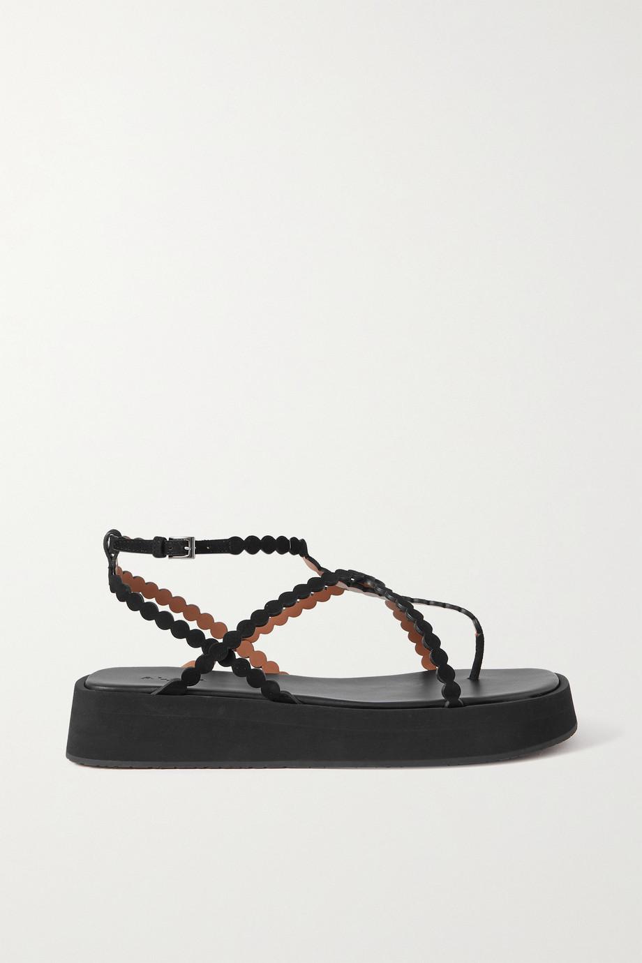 Alaïa 40 laser-cut suede platform sandals