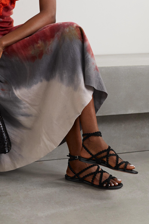 Alaïa Sandalen aus lasergeschnittenem Veloursleder