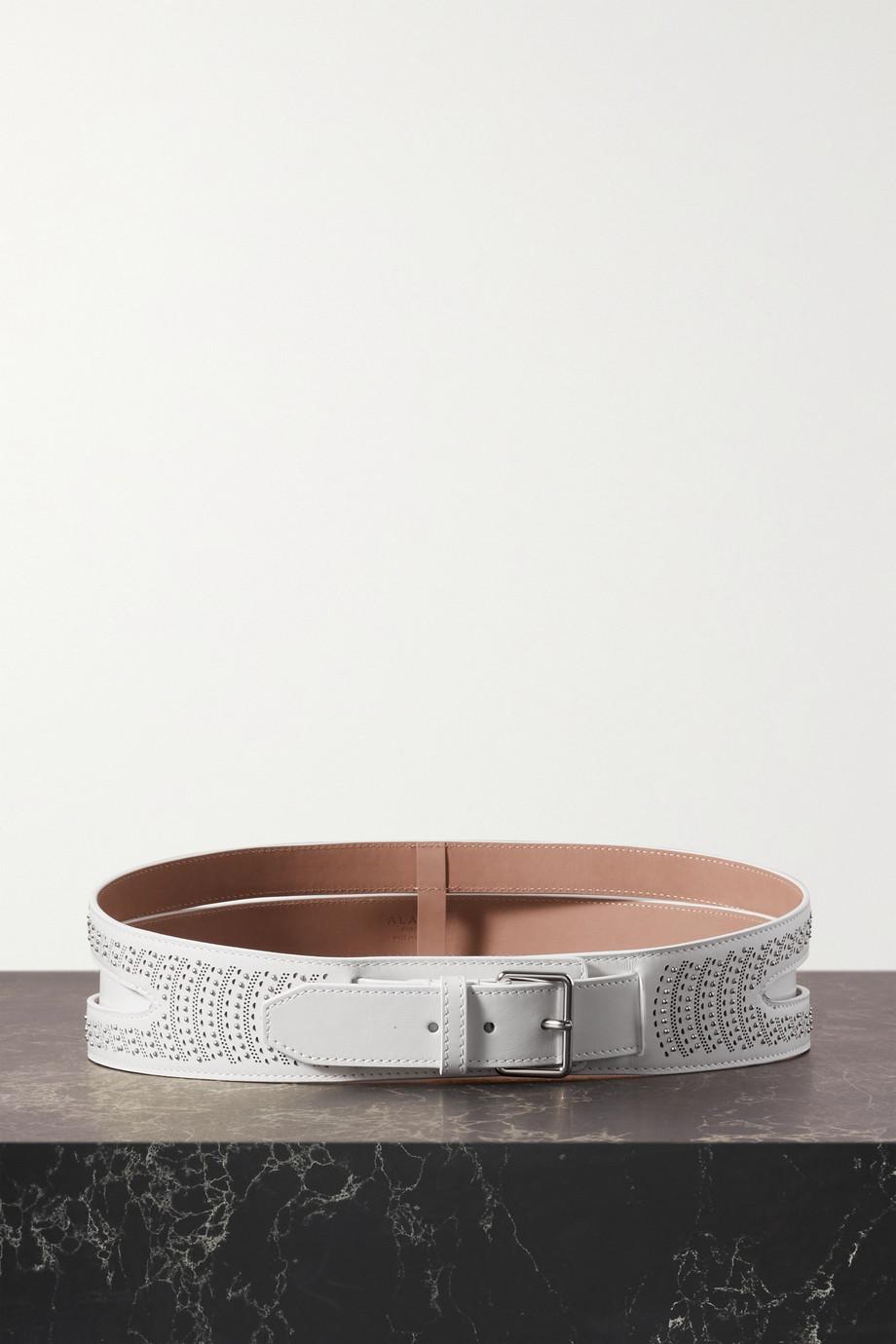 Alaïa Convertible embellished laser-cut leather waist belt