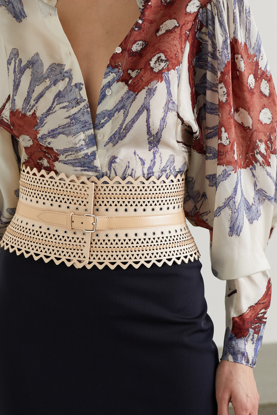 Alaïa Leather-trimmed laser-cut faux raffia waist belt