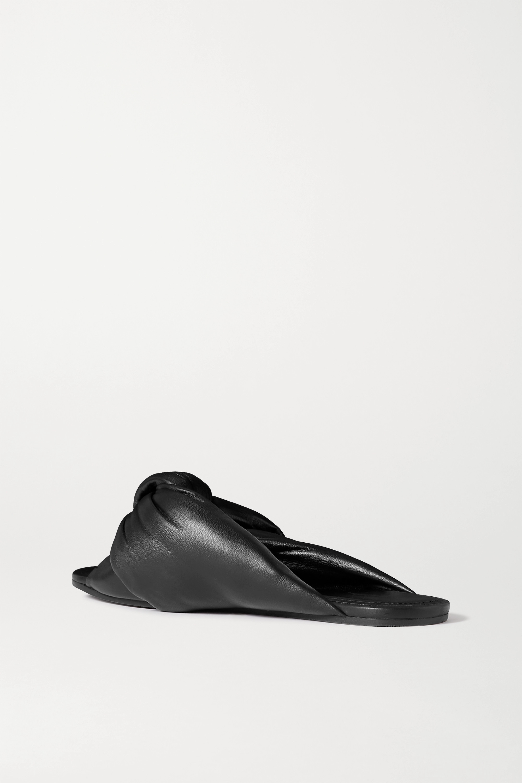Balenciaga Drapy Pantoletten aus Leder mit Knoten