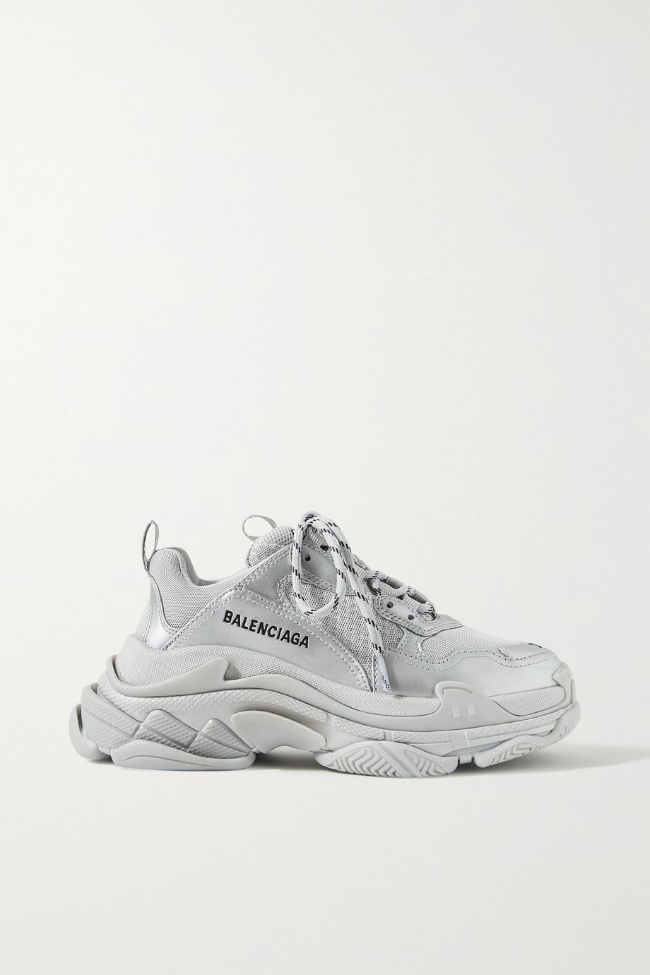 Balenciaga Triple S Sneakers aus Metallic-Leder und Mesh mit Logostickerei