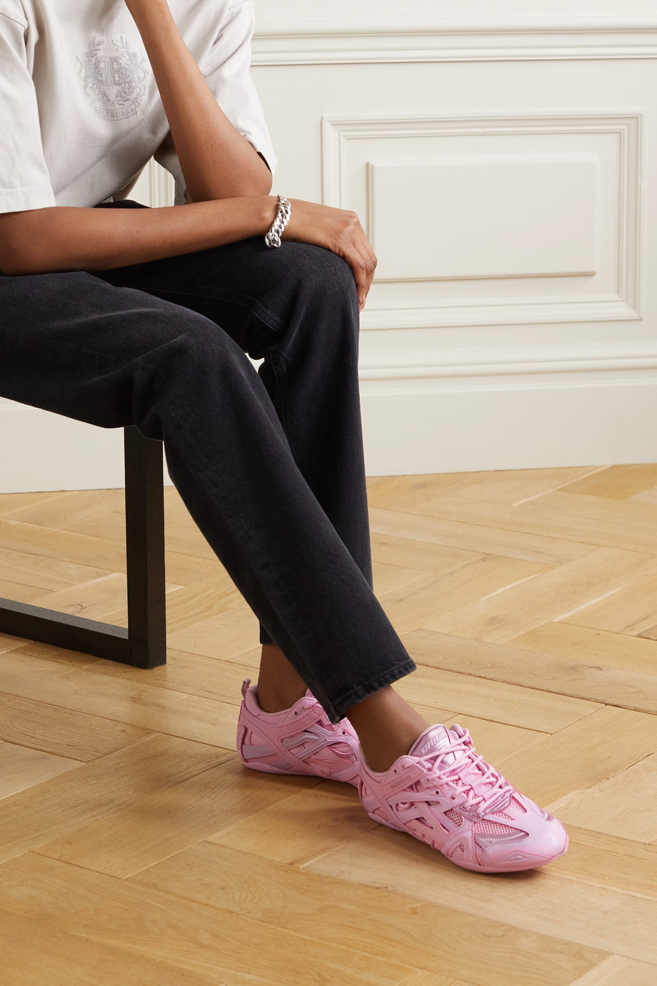 Balenciaga Baskets en cuir, caoutchouc et résille Drive
