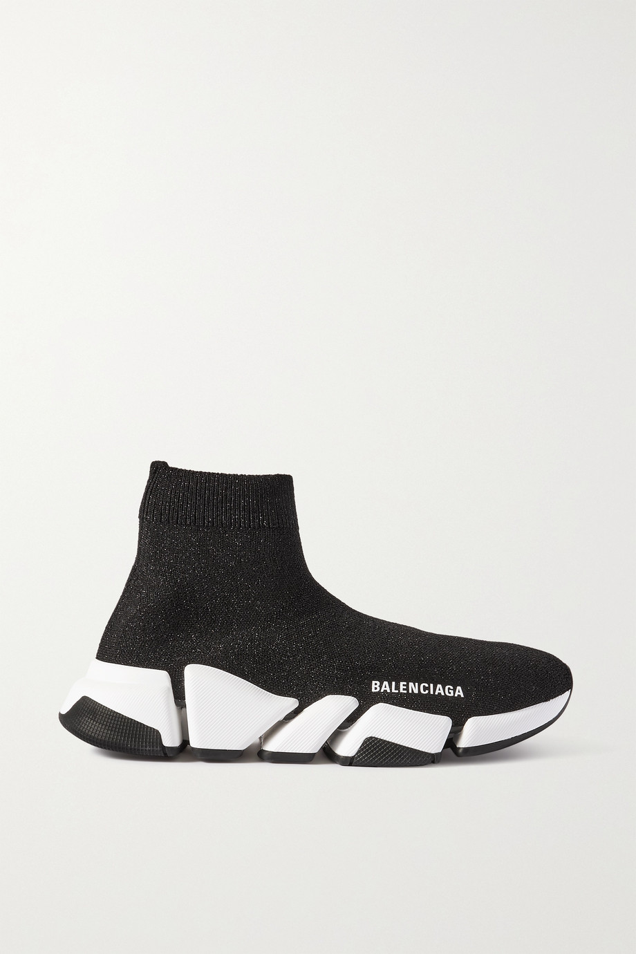 Balenciaga Speed 2.0 logo-print glittered stretch-knit high-top sneakers
