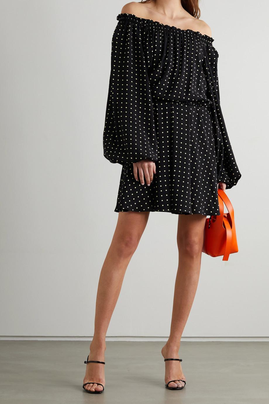 ROTATE Birger Christensen Carly off-the-shoulder polka-dot crepe mini dress