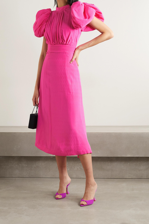 ROTATE Birger Christensen Dawn open-back satin-jacquard midi dress
